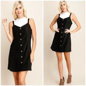 🆕Black Suede Button Down Mini Dress